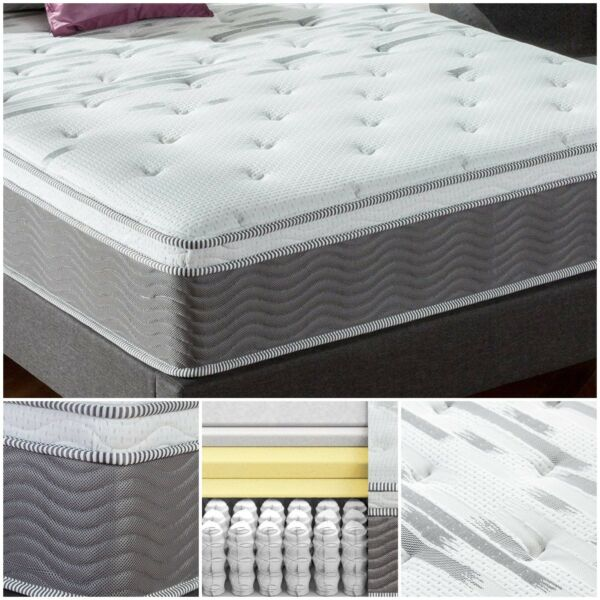 12 Inch Extra Firm Spring Mattress Foam Layers Knit Jacquard Cover Fiber Quilted