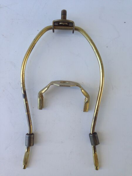 1 one VINTAGE attic stored LAMP shade HARP old parts 7 1 2quot; brass finish NICE
