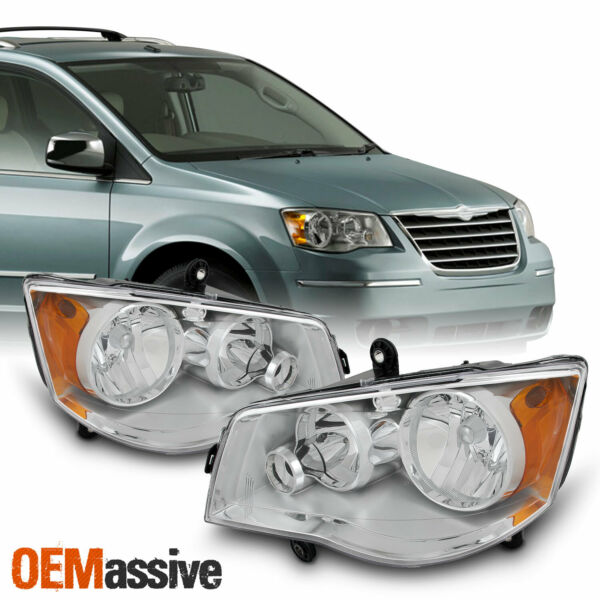 Fits 2008-2016 Chrysler Town & Country Left + Right Side Headlights Front Lamps