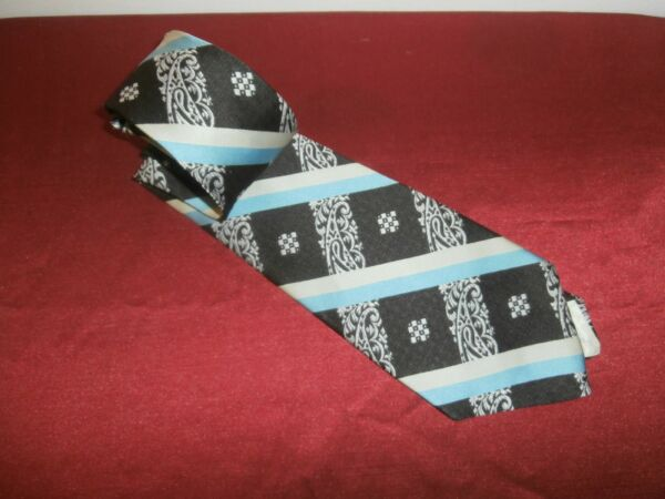 Vtg Gino Pirelli Extra Wide Blue Lined Tie