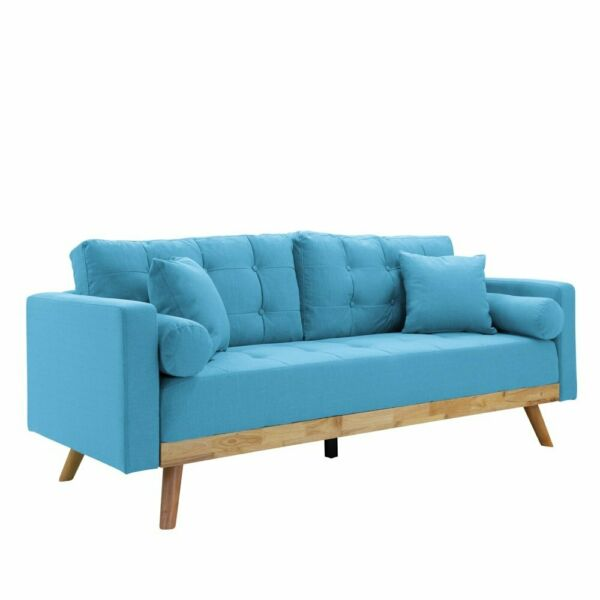 Mid-Century Wood Frame Sofa Modern Tufted Linen Fabric Couch Pillows Light Blue $239.99