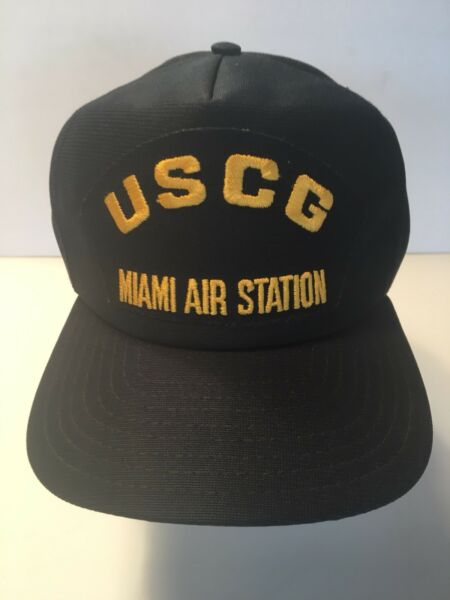 Trucker Hat Baseball Hat Black USCG Miami Air Station Gold Lettering Adjustable