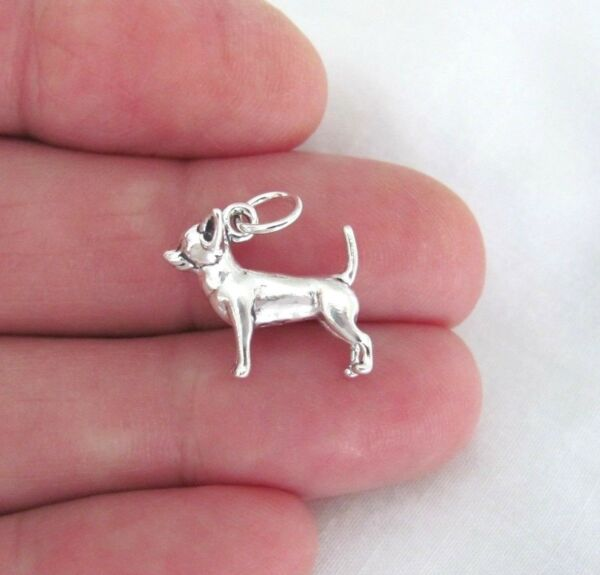 Sterling Silver 3d chihuahua dog charm. $13.13