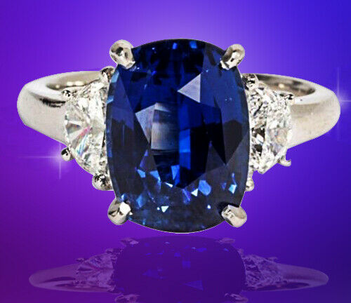 Natural No Heat Sapphire cushion 6.16 ct and Diamond .66 ct half moon Ring