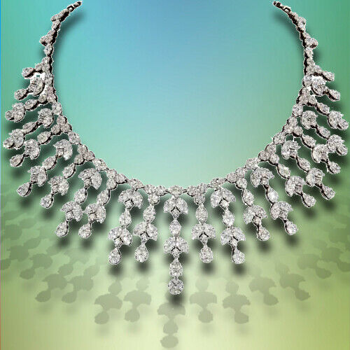 Grand Diamond Drop Necklace 63.29 carats F VS 18 k white gold Necklace Drop