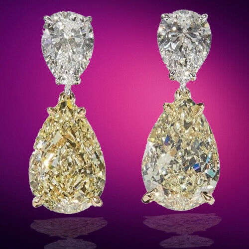GIA Yellow and White Diamond Earring 6.80 carats of Fancy 2.01 ct F color VS2