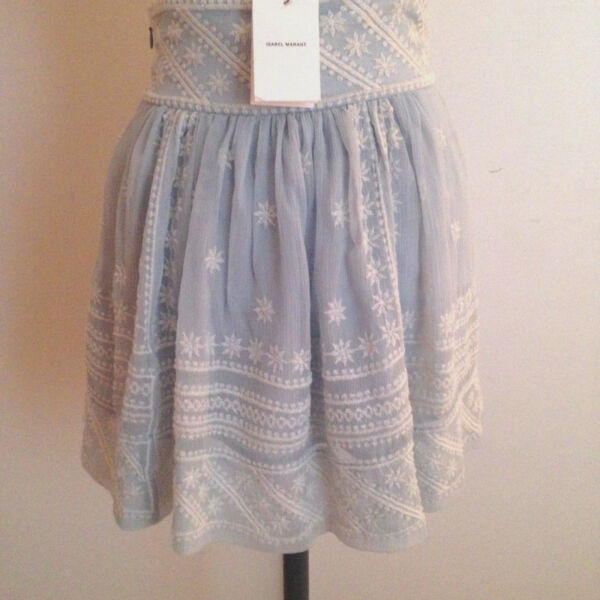 ISABEL MARANT Skirt LAIA Blue Pale White Embroidery Sz 1 New with tag
