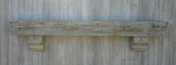 Reclaimed Wood Fireplace Mantel Distressed White