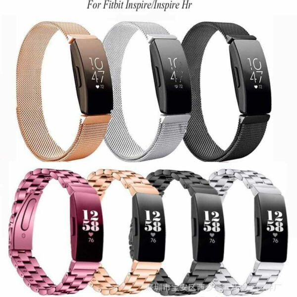 New For Fitbit Inspire HR Silicone Stainless Steel Milanese Bracelet Strap Band
