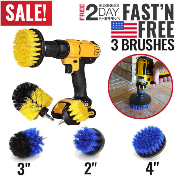 Drill Brush Power Scrubber Set Drill Attachments For Carpet Tile Grout Cleaning