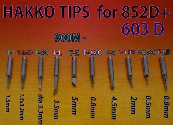 SET of 10 Soldering Iron Tips HAKKO Type 900M (for YIHUA BAKU etc.)