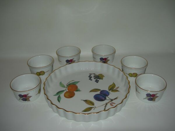 7 pc Serving Set~Royal Worcester GOLD Evesham~Fluted Tart Pie Plate