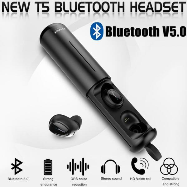 AWEI T5 Portable TWS Bluetooth 5.0 Earphone Heavy Bass Headphone True Wireless