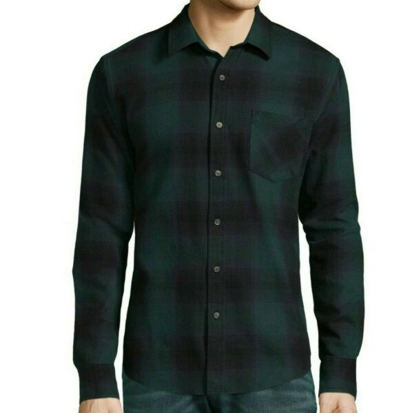 Button Up Shirt Plaid Cotton Flannel Arizona Green Navy Ombre Mens Size M-XXL
