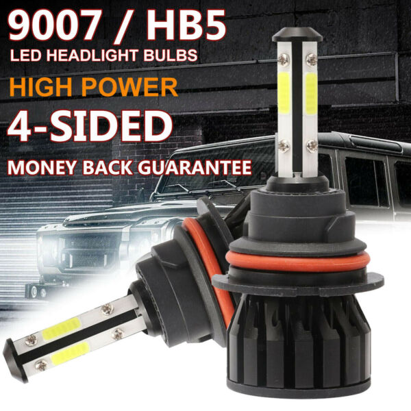 9007 HB5 CREE LED Headlight 2000W 240000LM 4-Sided Bulbs 6000K White High Power