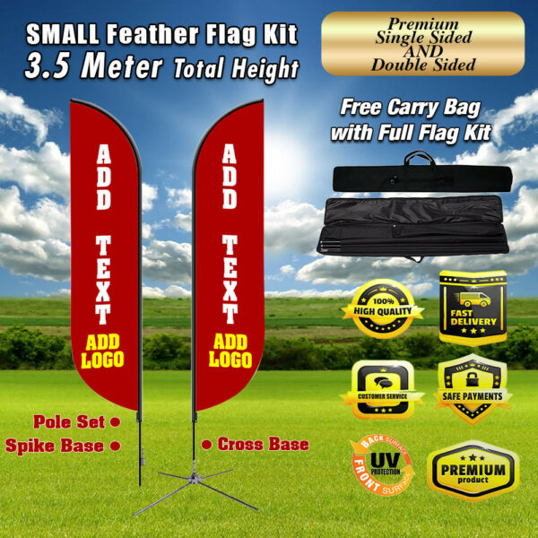 Outdoor 11'ft Feather Flag Kit Banner outdoor Advertising NO CHINA PREMIUM flag
