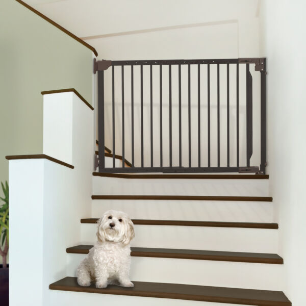 Expandable Walk Thru Hardwood Pet Dog Gate for Hallway Stairs Up to 47.2quot; Wide $125.99