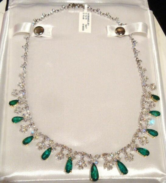 EMERGENCY SALE!$195K RARE 18KT LRG EMERALD FLAWLESS CLEEF STYLE DIAMOND NECKLACE