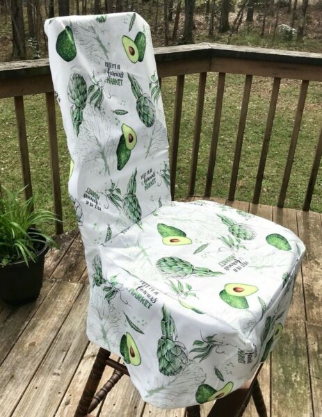 Unique Parson Dining Chair Slipcover Farmers Market Avocado Produce Veggies
