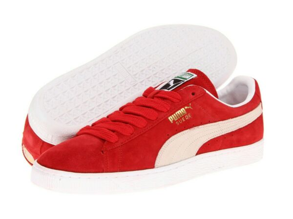Men's Shoes PUMA SUEDE CLASSIC Casual Sneakers 352634-65 RED WHITE