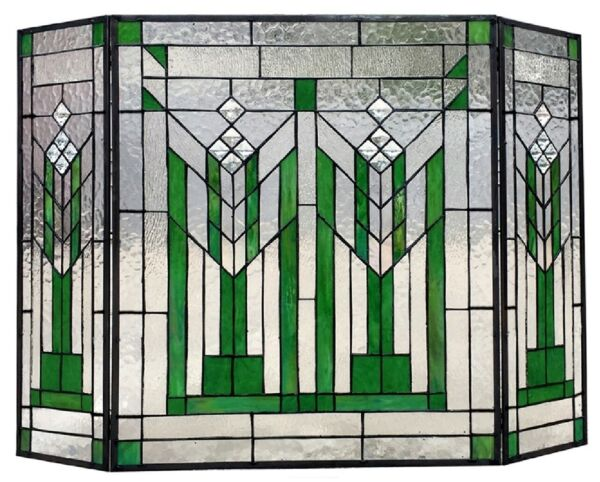 38quot; Green Mission Style Stained Glass Fireplace Screen 3 piece Folding Decor
