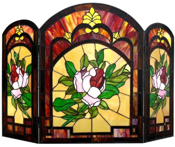 42quot; Victorian Floral Tiffany Style Stained Glass Fireplace Screen 3PC Folding