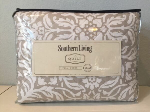 Southern Living Silver Lining Sundial 3 PC Full  Queen Quilt Pillow Shams Set