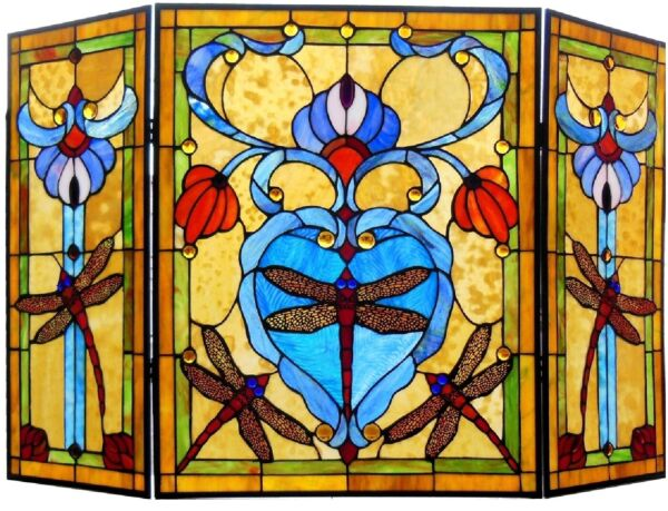 44quot; Dragonfly Tiffany Style Stained Glass Fireplace Screen 3 PC Folding Decor
