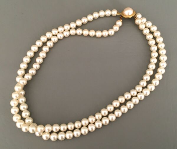 Vintage SARAH COVENTRY White Faux Pearl Two Strand Necklace 17.5in