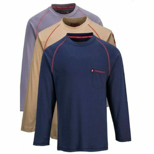 Portwest FR01 Mens Flame Resistant Shirt Grey Khaki or Navy Crew Neck $37.62