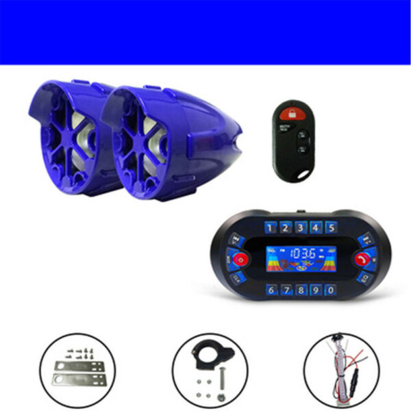motorcycle Anti Theft Speakers USB Audio System Stereo Bluetooth Motor Remote $60.00