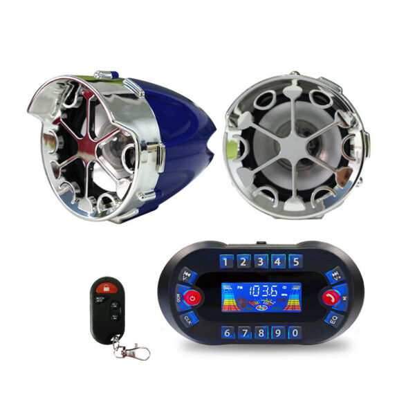 motorcycle Anti Theft Speakers USB Audio System Stereo Bluetooth Motor Remote $65.99
