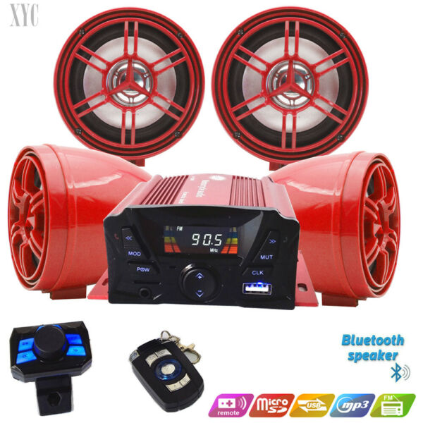 @ATV Anti Theft Speakers USB Audio System Stereo Bluetooth Motor Remote Red $88.98