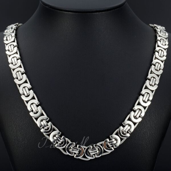 11mm Men#x27;s Silver Flat Byzantine Chain Necklace 316L Stainless Steel 18quot; 36quot; $14.24
