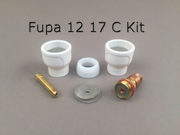 FUPA 12 Ceramic Cup Complete Kit for 17 18 & 26 Series TIG Torches