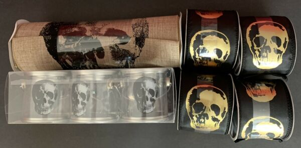 Skull Collection BlackGold Wired Ribbon Mini pails & Wide Ribbon Halloween