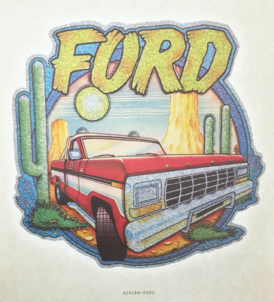 Vintage Ford Pickup Iron On Transfer T Shirt 80#x27;s Truck Glitter NOS