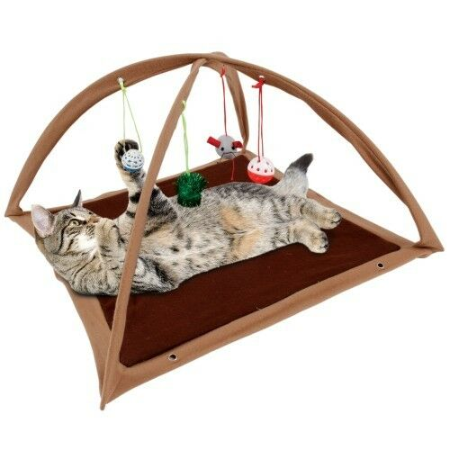 Fleece Cat Play Tent Tan with Dangle Toys Interactive kitty Pet Gift New