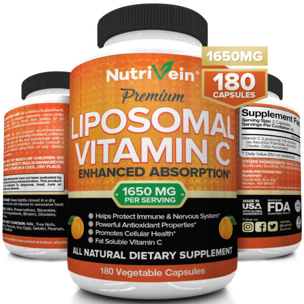 Nutrivein Liposomal Vitamin C 1600mg 180 Capsules High Absorption Supplements