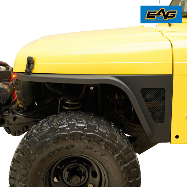 EAG Front Fender with Flare and LED Eagle Light Black for 97-06 Jeep Wrangler TJ