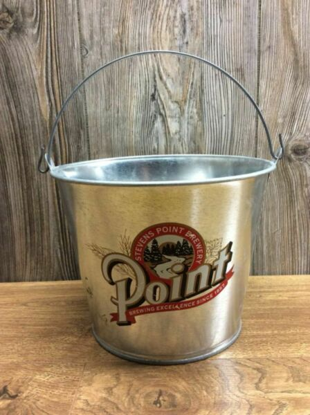 Point Beer Pail Ice Bucket Bar Pub Cool Graphics Nice Condition G4