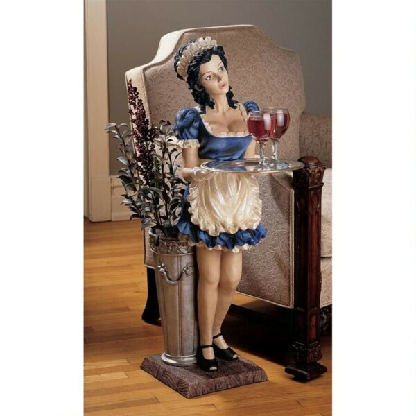 3 Ft Sculptural Parisian Maid Statue - Tray Table & Flower Pail Home Novelty Dec