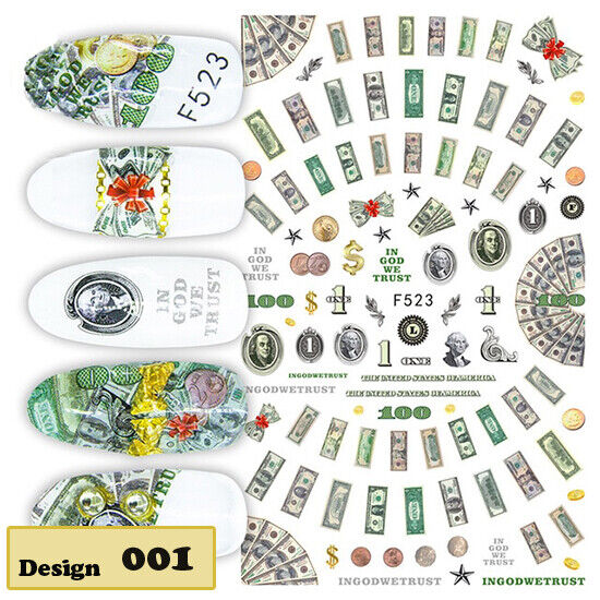 US Dollar.disney .etc Nail Stickers 3D Nail Art Manicure Tips Decals Decoration