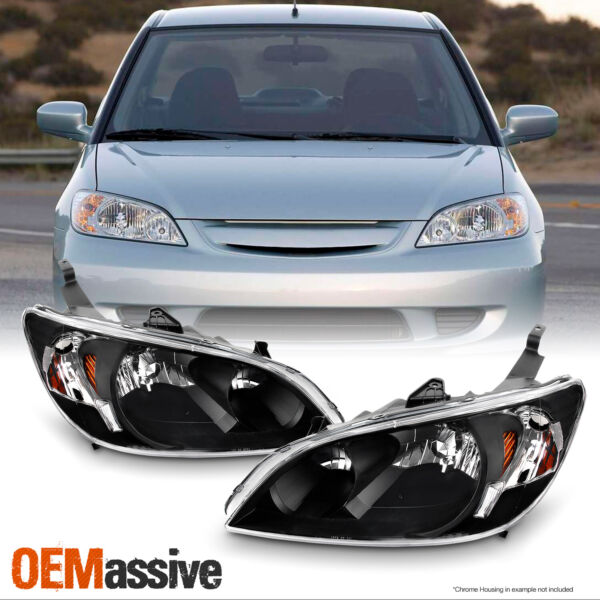 [Black] Fits 2004 2005 Honda Civic Left + Right Side Headlights Front Lamps Pair