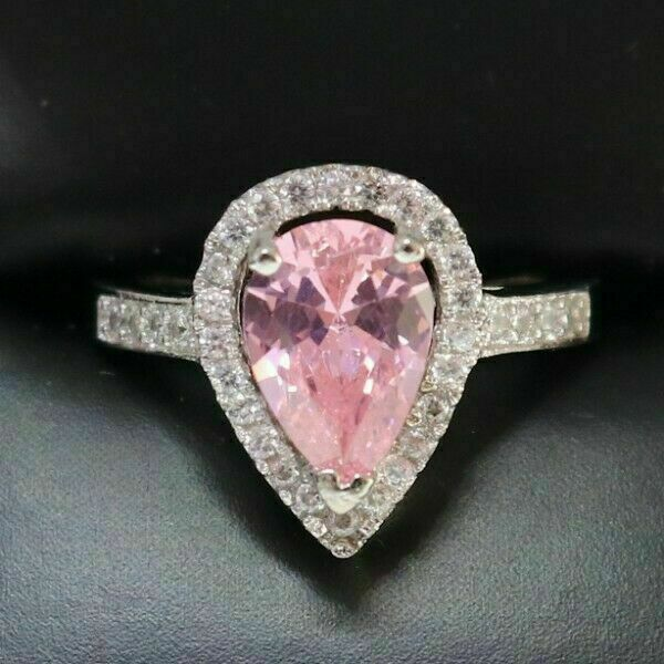 Gorgeous 2 Ct Heart Pink Sapphire Halo Engagement Ring Sterling Silver Jewelry