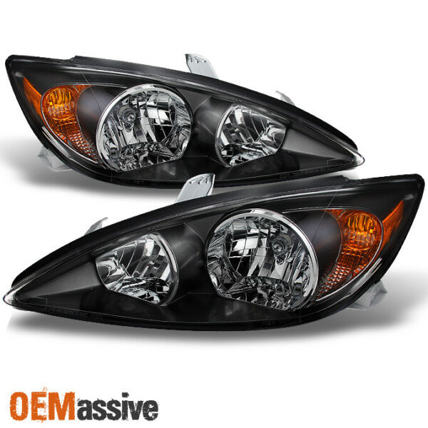 Black Fits 2002 2003 2004 Toyota Camry LE SE XLE Headlights Replacement LH+RH
