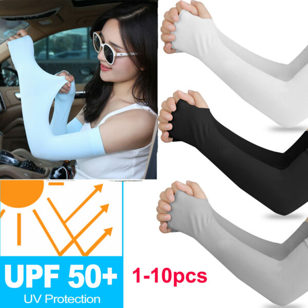 10PCS  Cooling UV Sun Protection Arm Sleeves Armband Cover Stretch Sport Outdoor