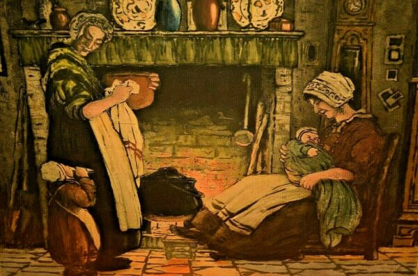 Antique GUILBERT Mother Child Family Interior Fireplace Illustration Painting