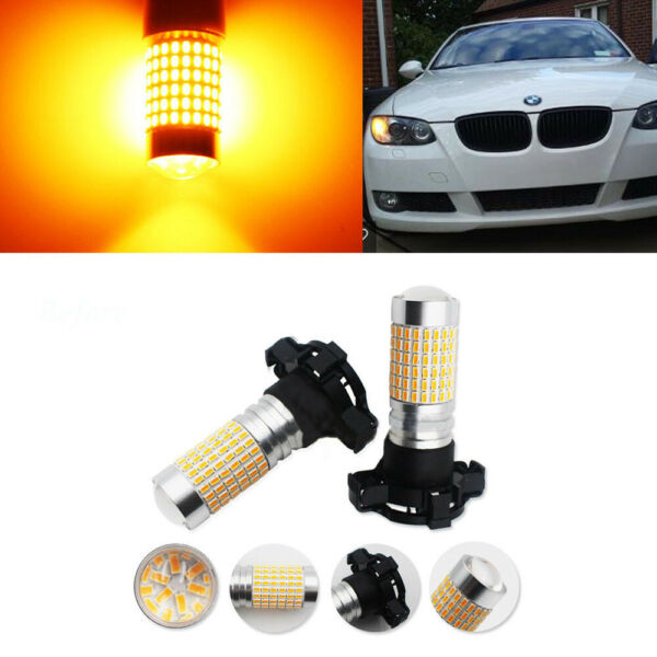 No Error Amber PY24W 5200s For Audi BMW Mercedes 144-LED Front Turn Signal Light