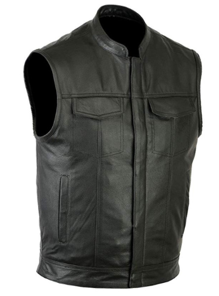 Mens Motorcycle Leather Club Vest Solid Black Concealed Carry Pockets